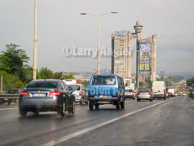 Gate to the City, Novi Beograd, Genex Tower (residential highrise)<br /> <br /> Building-wrap advertisement for Lav beer<br /> <br /> Belgrade, Serbia