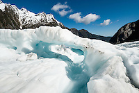 Ice cave on Franz Josef Glacier, Westland Tai Poutini National Park, UNESCO World Heritage Area, West Coast, South Westland, New Zealand, NZ
