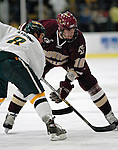 "19 January 2007: Boston College forward Brian Boyle from Hingham, MA, prepares for a faceoff during a Hockey East matchup against the University of Vermont at Gutterson Fieldhouse in Burlington, Vermont. The UVM Catamounts defeated the BC Eagles 3-2 before a record setting 50th consecutive sellout at ""the Gut""...Mandatory Photo Credit: Ed Wolfstein Photo."