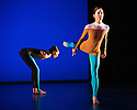 """Michael Clark Company in a piece set to """"Albatross"""" by Public Image Limited, at the Barbican. Dancers are: Harry Alexander, Julie Cunningham, Melissa Hetherington, Oxana Panchenko, Daniel Squire and Benjamin Warbis.  Picture shows: Oxana Panchenko and Melissa Hetherington. Photograph © Jane Hobson."""