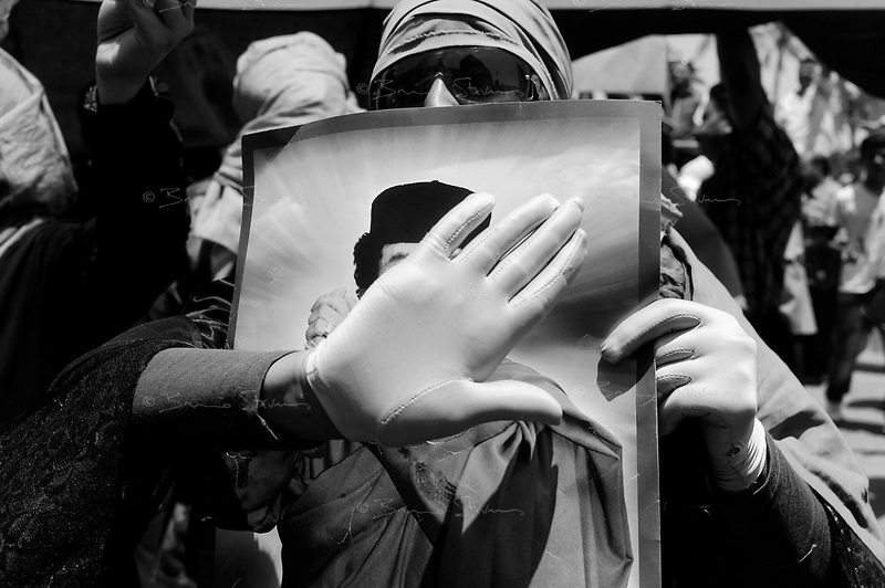Tripoli, Libya 23, 2011.A Women demonstration in support of Muammar Ghaddafi's regime on Green Square; only 300-400 women showed up.