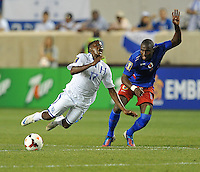 Marvin Antonio (17) of Honduras gets fouled by Judetin Aveska (8) of Haiti.  Honduras defeated Haiti 2-0 in the first round of the CONCACAF Gold Cup, at Red Bull Arena, Monday July 8 , 2013.