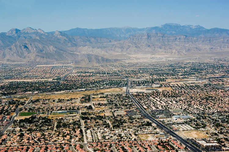 Aerial of urban sprawl development in Las Vegas, Nevada, NV, Las Vegas, city, growth of sprawl of Las Vegas, daytime, aerial, Photo nv295-18721. .Copyright: Lee Foster, www.fostertravel.com, 510-549-2202,lee@fostertravel.com