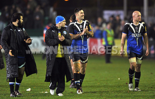 Matt Banahan smiles to the crowd after the final whistle. Aviva Premiership match, between Bath Rugby and Harlequins on November 23, 2012 at the Recreation Ground in Bath, England. Photo by: Patrick Khachfe / Onside Images
