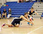 Oxford, CT- 21 April 2017-042117CM10-  Oxford's Will Richter slides in for the dig during their volleyball matchup against Shelton in Oxford on Friday.   Also in the play is teammate,  Zach Lanza.     Christopher Massa Republican-American