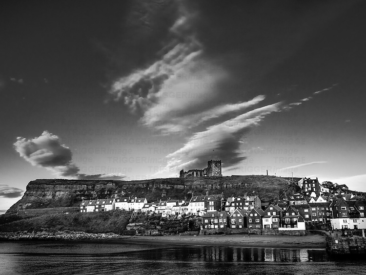 View of whitby harbour and church