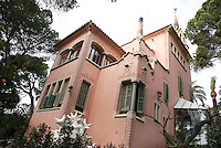 """""""Casa Museu Gaudí"""", Gaudi's House Museum, Park Güell, Barcelona, Catalonia, Spain, 1900 - 1914, built in 1906 by Francesc Berenguer (Reus 1866 ? Barcelona 1914), chosen by Antoní Gaudi (Reus 1852, Barcelona 1926) to incorporate the team of architects with Joan Rubió (Reus 1870 ? Barcelona 1952) and Josep Maria Jujol (Tarragona 1879 - Barcelona 1949). Gaudí bought it in 1906 and lived there until 1925. As a Museum it displays a range of Gaudí?s furniture, including some from the Casa Batlló. Picture by Manuel Cohen"""
