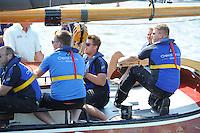 SKÛTSJESILEN: GROU: 18-07-2015, SKS kampioenschap 2015, Skûtsje Oeral Thús (Joure) finisht als 2e tijdens de openingswedstrijd, schipper Dirk Jan Reijenga, ©foto Martin de Jong