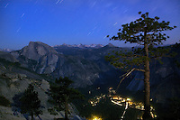 Star trails and Half Dome - Yosemite National Park, California.