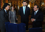 Spain's King Felipe VI meets with Egyptian President Abdel Fattah al-Sisi at the Royal Palace in Madrid on April 30, 2015. Photo by Egyptian Presidency