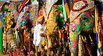 Mahout and his painted elephants, Jaipur, India<br />