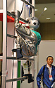 Nobember 9, 2011, Tokyo, Japan - A robot demonstrates its ability to climb a vertical ladder during the International Robot Exhibition 2011 opened in Tokyo on Wednesday, November 9, 2011. The three-day trade show, sponsored by the Japan Robot Association, was designed promote new products and develop new business through contributing the promotion of new technology. (Photo by Natsuki Sakai/AFLO) [3615] -mis-..