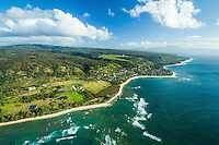 An aerial view of the coastline along the North Shore of O'ahu.