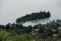 L'isola dei cipressi sul lago di Pusiano..Cypress island over Pusiano lake