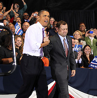 Oct 29, 2010. President Barack Obama shakes hands with Virginia 5th District Representative Congressman Tom Perriello Friday during a campaign rally at the Charlottesville Pavilion in downtown Charlottesville, Va. Photo/Andrew Shurtleff