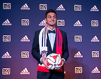 #13 overall pick Marco Franco of the Chicago Fire stands on the podium during the MLS SuperDraft at the Pennsylvania Convention Center in Philadelphia, PA, on January 16, 2014.