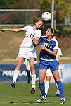 04 November 2009: Florida State's Becky Edwards (19) and Duke's Marybeth Kreger (17) challenge for the ball. The Florida State University Seminoles defeated the Duke University Blue Devils 2-0 at Koka Booth Stadium in WakeMed Soccer Park in Cary, North Carolina in an Atlantic Coast Conference Women's Soccer Tournament Quarterfinal game.