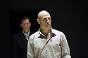 London, UK. 08.04.2014. A VIEW FROM THE BRIDGE, by Arthur Miller, opens at the Young Vic. Directed by Ivo Van Hove, design and light by Jan Versweyveld and costumes by An D'Huys. Picture shows: Jonah Russell (Officer) and Mark Strong (Eddie). Photograph © Jane Hobson.