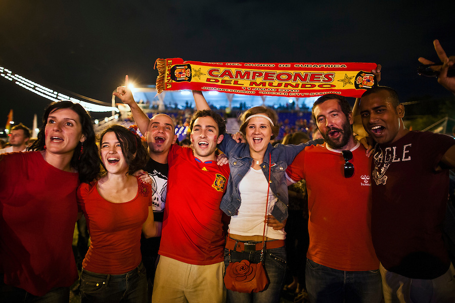 Moscow, Russia, 01/07/2012..Spanish supporters celebrate in the Euro 2012 Fan Zone in Gorky Park, as Spain beat Italy 4-0 in the final of the soccer championship.