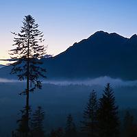 Dawn silhouette of Tatra mountains, Poland