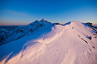 Snow covered ridge of Stamsundheia with Steinstind peak in distance, Stamsund, Vestvågøy, Lofoten islands, Norway