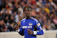 Kei Kamara (23) of the Kansas City Wizards. The New York Red Bulls defeated the Kansas City Wizards 1-0 during a Major League Soccer (MLS) match at Red Bull Arena in Harrison, NJ, on October 02, 2010.