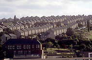 August 1981. Newcastle area, England. Outside Newcastle there is no one in the street and the traffic is minimal.