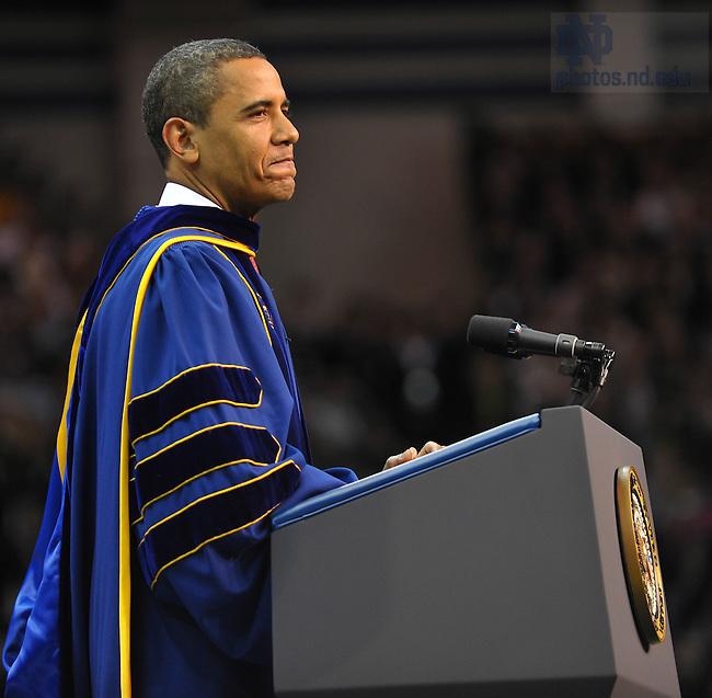 Commencement 2009.  President Obama speaks...Photo by Matt Cashore/University of Notre Dame