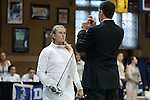 12 February 2017: UNC's Sara Elli Moreno (left) prepares for her Epee match. The University of North Carolina Tar Heels played the Northwestern University Wildcats at Card Gym in Durham, North Carolina in a 2017 College Women's Fencing match. UNC won the dual match 15-12 overall, 5-4 Foil, 5-4 Epee, and 5-4 Saber.