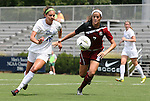21 August 2011: Duke's Laura Weinberg (16) and South Carolina's Elizabeth Sinclair (7). The Duke University Blue Devils defeated the University of South Carolina Gamecocks 2-0 at Koskinen Stadium in Durham, North Carolina in an NCAA Women's Soccer game.