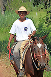 South America, Brazil, Pantanal. The cowboy of the Pantanal, a Pantaneiro, a Caiman Ecological Reserve.