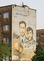 Mural commemorating martyrs of the Iran-Iraq war (1980-1988). It reads &quot;Martyrdom is the art of the men of God&quot;. Imam Khomeini&quot; and &quot;Generals Shiroodi and Keshvari&quot;. Tehran, Iran, 2008
