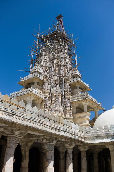The Ranakpur Jain Temple being renovated at Desuri Tehsil in Pali District of Rajasthan, Western India