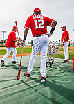 3 March 2016: Washington Nationals Manager Dusty Baker watches his team warm up prior to a Spring Training pre-season game against the New York Mets at Space Coast Stadium in Viera, Florida. The Nationals defeated the Mets 9-4 in Grapefruit League play. Mandatory Credit: Ed Wolfstein Photo *** RAW (NEF) Image File Available ***
