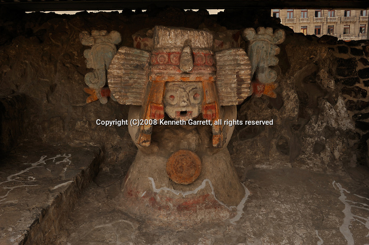 Greatest Aztecs, MM7677,  Mexico City, Mexico, Templo Mayor Museum, Site photos, Tlaloc and feathered serpent, Tzompantli, skull wall, feathered serpent, frogs, Temple facade.