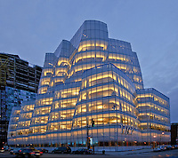 IAC Building, designed by Frank Gehry, Manhattan, New York City, New York, USA, Dusk, lobby