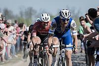 Tom Boonen (BEL/Quick-Step Floors) at the infamous Carrefour de l'Arbre sector followed closely by John Degenkolb (DEU/Trek-Segafredo)<br /> <br /> 115th Paris-Roubaix 2017 (1.UWT)<br /> One Day Race: Compi&egrave;gne &rsaquo; Roubaix (257km)