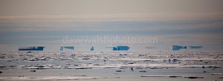 Fata Morgana, or superior mirage off the coast of Arctic Greenland's west coast, in Kane Basin.