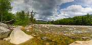 Panoramic of the East Branch of the Pemigewasset River in Lincoln, New Hampshire USA during the spring months. This image consists of four images stitched together