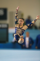 Vanessa Ferrari of Italy split leaps on floor exercise to help Italy win gold in senior women's team competition at 2006 European Championships Artistic Gymnastics at Volos, Greece on April 29, 2006.  (Photo by Tom Theobald)