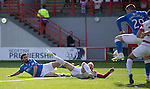 Hamilton Academical St Johnstone....04.04.15<br /> Michael O'Halloran blocks Simon Lappin's goal bound shot<br /> Picture by Graeme Hart.<br /> Copyright Perthshire Picture Agency<br /> Tel: 01738 623350  Mobile: 07990 594431