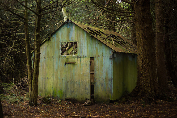 Derelict gardeners shed in the grounds of Lowther Castle, Cumbria