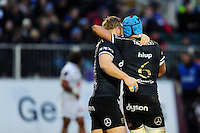 Zach Mercer of Bath Rugby celebrates his try with team-mate Ross Batty. European Rugby Challenge Cup match, between Bath Rugby and Pau (Section Paloise) on January 21, 2017 at the Recreation Ground in Bath, England. Photo by: Patrick Khachfe / Onside Images