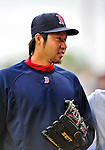 11 March 2010: Boston Red Sox pitcher Junichi Tazawa returns to the dugout prior to a Spring Training game against the New York Mets at Tradition Field in Port St. Lucie, Florida. The Red Sox defeated the Mets 8-2 in Grapefruit League action. Mandatory Credit: Ed Wolfstein Photo