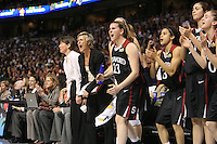 6 April 2008: Stanford Cardinal (L-R) coaching intern Jackie Zink, video coordinator Evan Unrau, assistant coach Bobbie Kelsey, head coach Tara VanDerveer, assistant coach Kate Paye, Jeanette Pohlen, Cissy Pierce, Morgan Clyburn, and Hannah Donaghe during Stanford's 82-73 win against the Connecticut Huskies in the 2008 NCAA Division I Women's Basketball Final Four semifinal game at the St. Pete Times Forum Arena in Tampa Bay, FL.