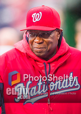 28 April 2016: Washington Nationals Manager Dusty Baker watches play from the dugout during a game against the Philadelphia Phillies at Nationals Park in Washington, DC. The Phillies shut out the Nationals 3-0 to sweep their mid-week, 3-game series. Mandatory Credit: Ed Wolfstein Photo *** RAW (NEF) Image File Available ***