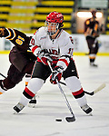 2 January 2009: St. Lawrence Saints' forward Brock McBride, a Senior from Cornwall, Ontario, in action against the Ferris State Bulldogs in the first game of the 2009 Catamount Cup Ice Hockey Tournament hosted by the University of Vermont at Gutterson Fieldhouse in Burlington, Vermont. The Saints defeated the Bulldogs 5-4 to move onto the championship game against the University of Vermont Catamounts...Mandatory Photo Credit: Ed Wolfstein Photo