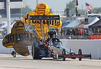 Apr. 26, 2013; Baytown, TX, USA: NHRA top fuel dragster driver Scott Palmer during qualifying for the Spring Nationals at Royal Purple Raceway. Mandatory Credit: Mark J. Rebilas-