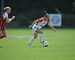 Ole Miss' Erin Emerson (3) vs. Louisiana-Lafayette's Kayla Henrie (12) in college soccer action at the Ole Miss Soccer Stadium in Oxford, Miss. on Sunday, August 26, 2012. Rafaelle Souza delivered her fourth goal of the season in the 12th minute for Ole Miss (4-0).