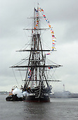 "Boston, MA - June 10, 2006 -- USS Constitution, ""Old Ironsides"" fires a 21-gun salute to Castle Island's Fort Independence during a turnaround cruise in Boston Harbor. The turn-around cruise is one of the high points of Boston Navy Week. Twenty-four such weeks are planned this year in cities throughout the U.S., arranged by the Navy Office of Community Outreach (NAVCO). NAVCO is tasked with enhancing the Navy's brand image in areas with limited exposure to the Navy. .Credit: Dave Kaylor - U.S. Navy via CNP.."
